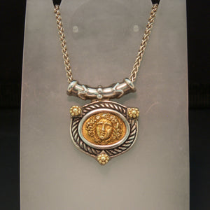 Sterling Silver 14K Yellow Gold Cameo Style Necklace