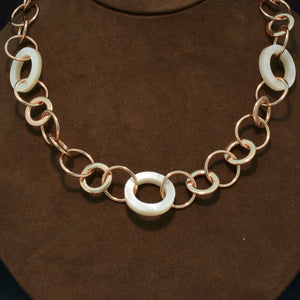 Sterling Silver, 18K Rose Gold and Mother of Pearl Necklace
