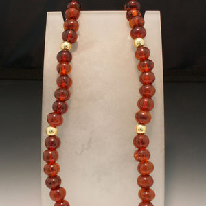 14K Yellow Gold and Red Amber Necklace