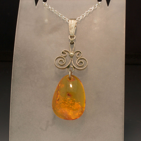 Sterling Silver Filigree Amber Pendant