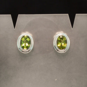 Sterling Silver Blue Topaz, Peridot and Amethyst Earrings