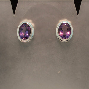 Sterling Silver  Peridot and Amethyst Earrings