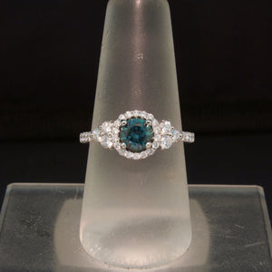 14K White Gold Teal Montana Sapphire and Diamond Ring