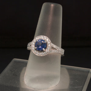 14K White Gold Blue Spinel and Diamond Ring