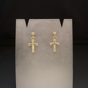 14K Yellow Gold Cross Earrings