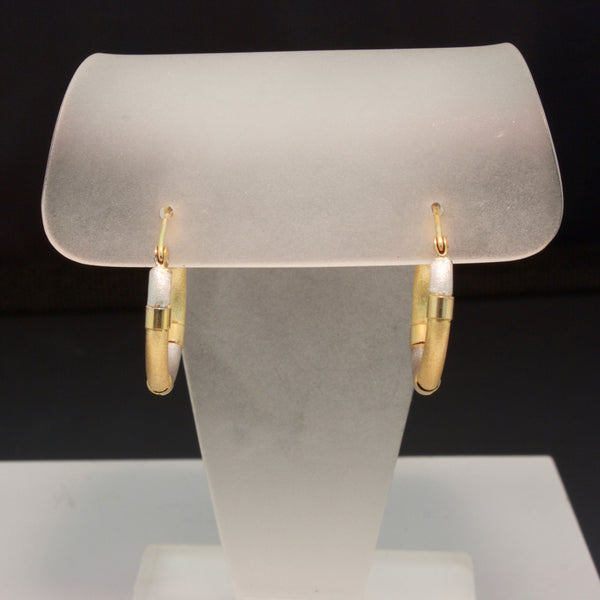 14K Yellow and White Gold Hoop Earrings