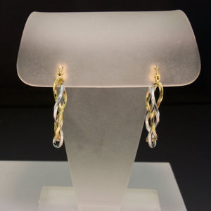 14K White and Yellow Gold Twist Hoop Earrings