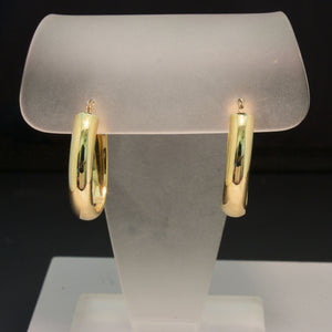 14K Yellow Gold Oval Hoop Earring