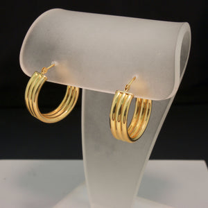 14K Yellow Gold Triple Hoops