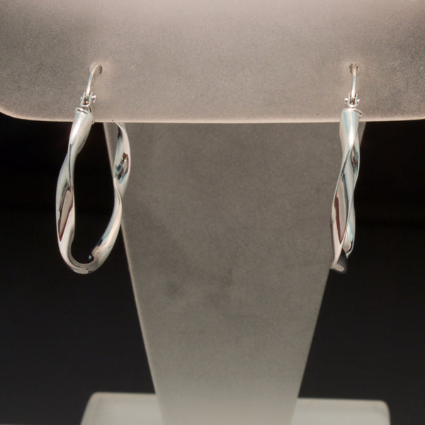 14K White Gold Twist Hoop Earrings