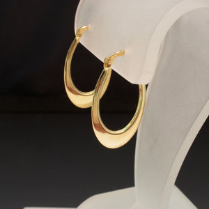 14K Yellow Gold Oval Hoop Earrings