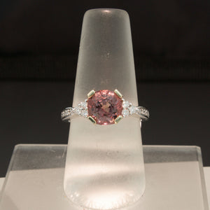 14K White Gold Pink Spinel and Diamond Ring