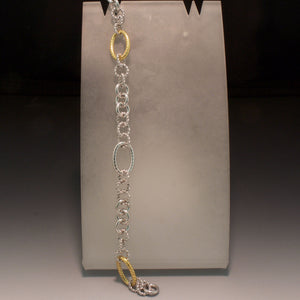 Sterling Silver and 18K Yellow Gold Rope Bracelet