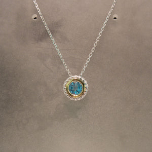 Sterling Silver and 14K Yellow Gold Blue Topaz Necklace