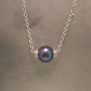 Sterling Silver Black Pearl and Diamond Necklace