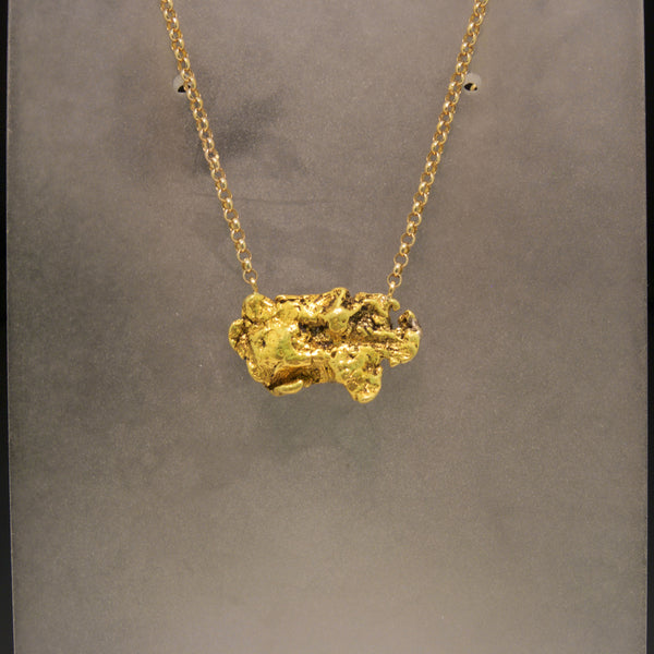 14K and 24K Yellow Gold Alaskan Nugget Necklace
