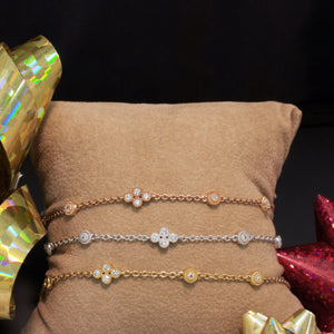 14K Yellow, Rose and White Gold Diamond Bracelets