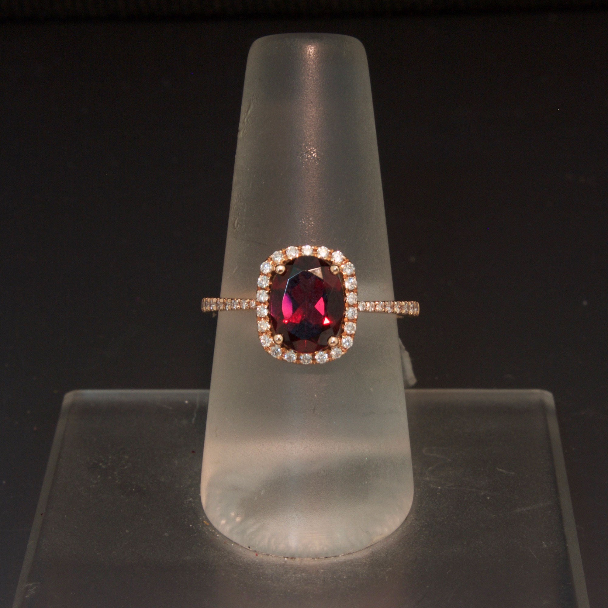 14k Rose Gold Red Garnet And Diamond Ring Larc Jewelers