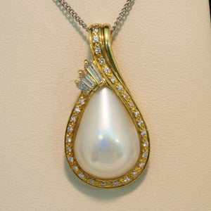 18K Yellow Gold Mabe Pearl and Diamond Pendant