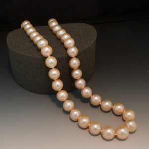 Sterling Silver 10mm Fresh Water Peach Pearl Necklace