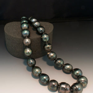 14K White Gold 12mm-15mm Tahitian Pearl Necklace