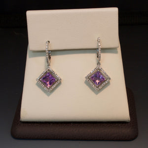 14K White Gold Amethyst and Diamond Earrings