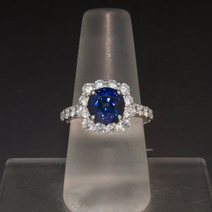 Incredible 14K White Gold Blue Sapphire and Diamond Ring