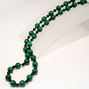 Sterling Silver Malachite and Onyx Bead Necklace