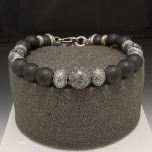 Sterling Silver Onyx and Brain Coral William Henry Bracelet
