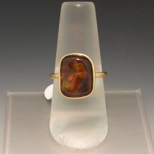 Handmade 14K Yellow Gold Fire Agate Ring
