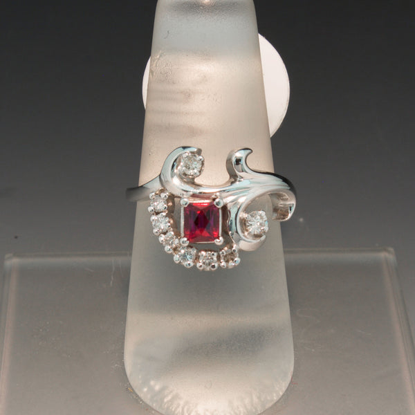 Vintage 14K White Gold Ruby and Diamond Ring