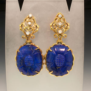 Vintage 14K Yellow Gold Lapis and Diamond Earrings