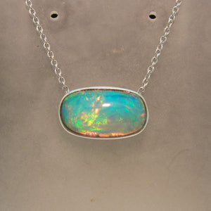 14K White Gold Ethiopian Opal Necklace