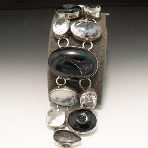 Sterling Silver Quartz and Agate Bracelet