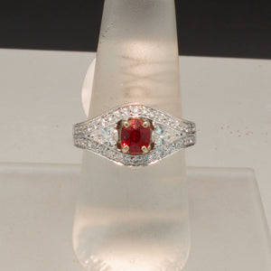 14K White Gold Red Spinel and Diamond Ring