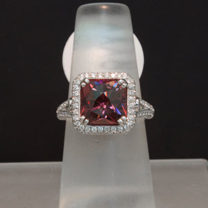 18K White Gold Rose Zircon and Diamond Ring