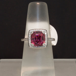 14K White Gold Cranberry Spinel and Diamond Ring