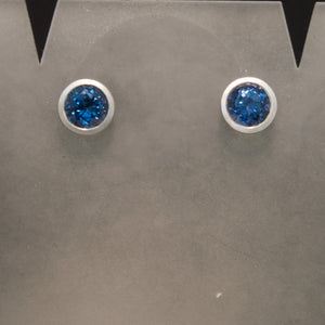 14K White Gold Blue Spinel Earrings