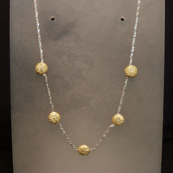 14K Two-Tone Yellow and White Gold Hammered Disk Necklace