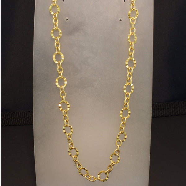 14K Yellow Gold Hammer Textured Link Necklace