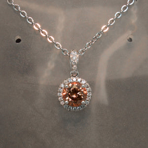18K White Gold Copper Zircon and Diamond Pendant