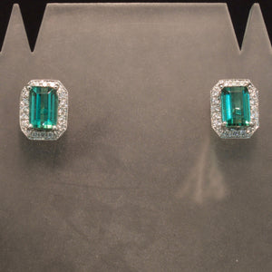 14K White Gold Green Tourmaline and Diamond Earrings