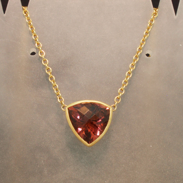 Handmade 18K Yellow Gold Copper Tourmaline Necklace