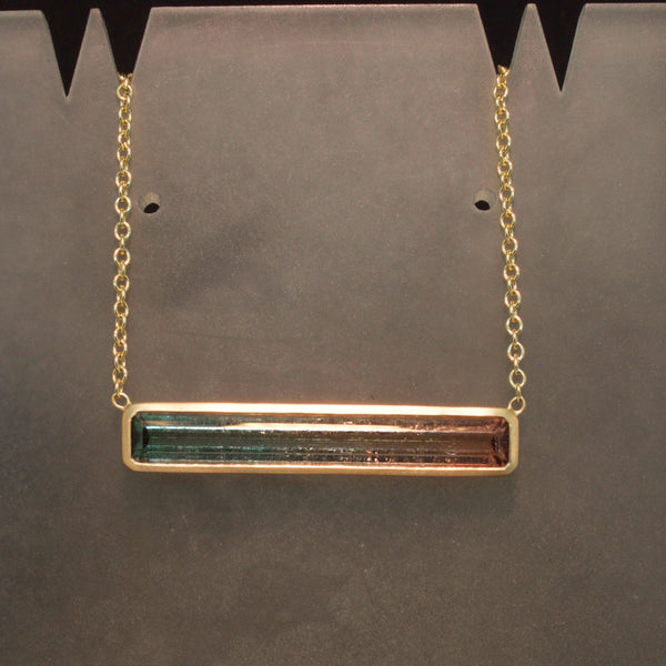 Handmade 14K Yellow Gold Tri-Colored Watermelon Tourmaline Necklace