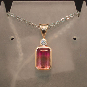14K Rose Gold Bi-Colored Pink Tourmaline Pendant