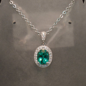 14K White Gold Blue Green Tourmaline and Diamond Pendant