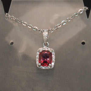 14K White Gold Cranberry Garnet and Diamond Pendant