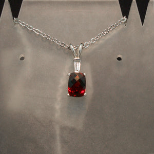 14K White Gold Red Garnet and Diamond Pendant