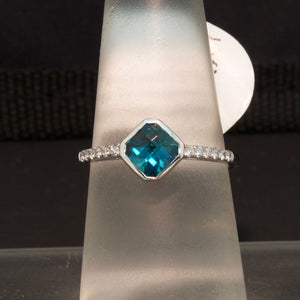 14K White Gold Indicolite Tourmaline and Diamond Ring