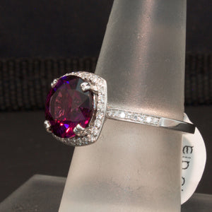 14K White Gold Purple Garnet and Diamond Ring